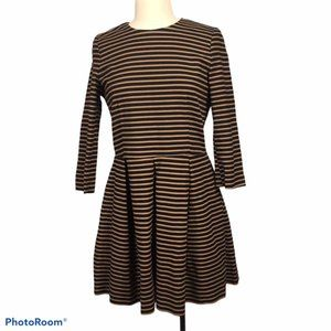 Long Sleeve Structured Fit Flare Dress Black Brown
